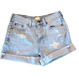 "J Crew Factory 5"" Distressed Denim Shorts sz 24"
